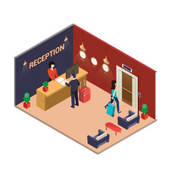 isometric artwork of a hotel lobby vector image