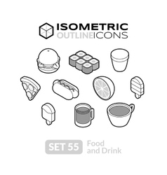 Isometric outline icons set 55 vector image