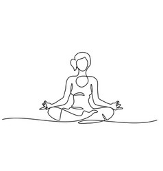 line drawing woman sitting cross legged meditating vector image
