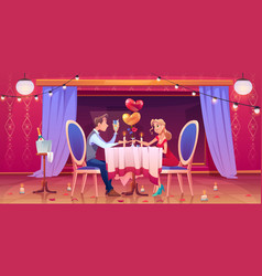 man woman couple romantic dinner in restaurant vector image