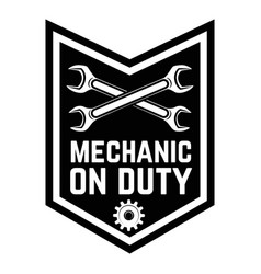 Mechanic on duty emblem template with crossed vector