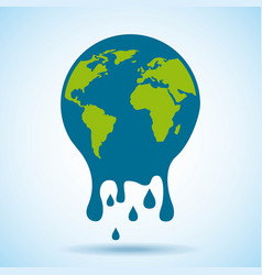 melted globe world risk problem environment vector image