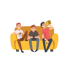 men sitting on sofa and playing computer games vector image