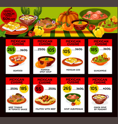 Menu price cards for mexican cuisine vector