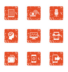 mobile phone technology icons set grunge style vector image