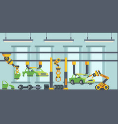 modern cars manufacturing process flat vector image