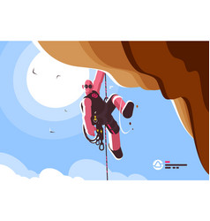 mountain climber with special equipment vector image
