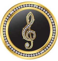 Music note gold icon with diamonds vector image