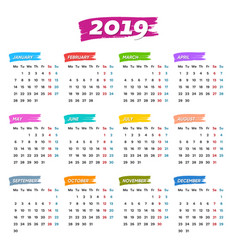 new 2019 calendar weeks start from monday vector image