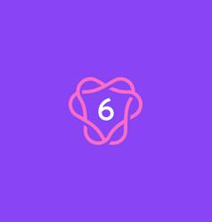 Number 6 logo icon design template creative vector