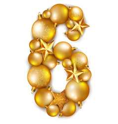 Number 6 made of shiny Christmas tree balls vector image