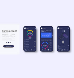 online banking mobile apps ui ux gui set vector image