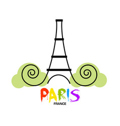 paris eiffel tower logo design vector image