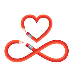 Pencil heart and infinity sign set heart vector