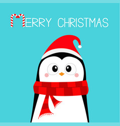 penguin wearing santa claus red hat and scarf vector image