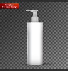 plastic clean white bottle with dispenser pump vector image