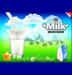 Pouring milk ads cows on green field background vector