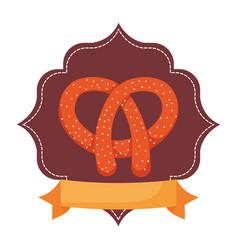pretzel delicios snack food emblem vector image
