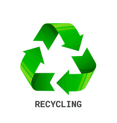 Recycling green recycle eco symbol isolated on vector