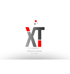red grey alphabet letter xt x t logo combination vector image
