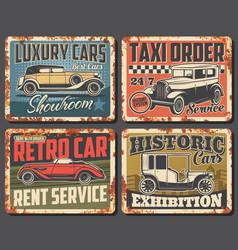 Retro car rusty signs with vintage auto vehicles vector