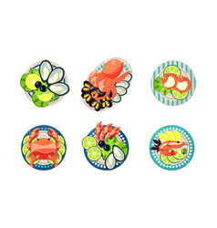 seafood set oysters shrimps octopus lobster vector image