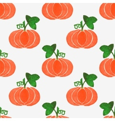 Seamless watercolor pattern with funny pumpkins on vector