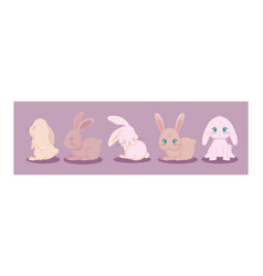 Set cute rabbits in different poses easter vector