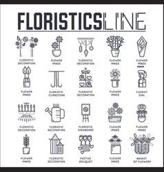 Set floristic decoration thin line icons vector