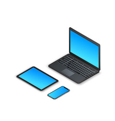 Set isometric gadgets 3d laptop tablet vector