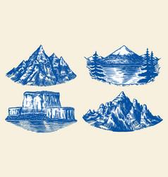 Set mountains peaks vintage rock old vector