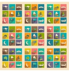 Set of flat icons with long shadow australian vector