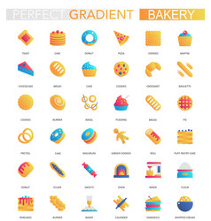 set trendy flat gradient bakery icons vector image