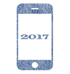Smartphone 2017 fabric textured icon vector