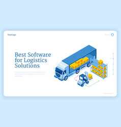 software for logistics solutions isometric landing vector image
