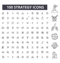 strategy editable line icons 100 set vector image