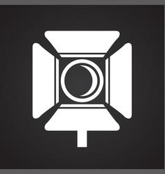 Studio video light icon on black background for vector