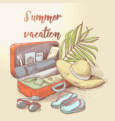 Summer beach vacation tropical trip hand drawn vector