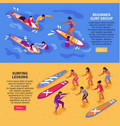 Surfing lessons horizontal banners vector