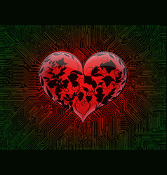 Surround glowing glass red heart with the vector
