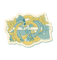 tattoo style sticker a medieval carving vector image