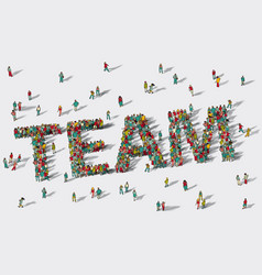 Team work big group people vector
