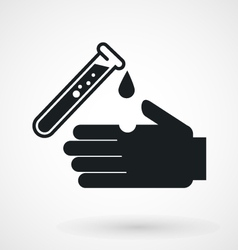 Test tube with acid drop and hand icon vector