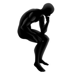 The thinker silhouette concept vector