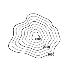 topographic map contour mountain geographic vector image