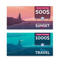 travel voucher sea travel summer time sea vector image