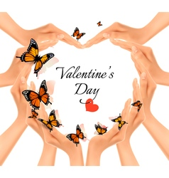 Valentines day background Hands in a shape of a vector image