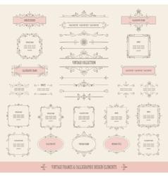 Vintage frames borders labels dividers big set vector image