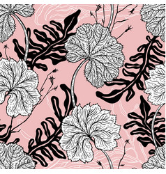 vintage seamless pattern with hand drawn leaves vector image