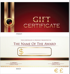 voucher gift certificate coupon red layout vector image